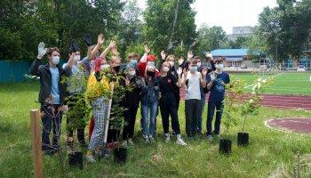 Аллею первых выпускников заложили учащиеся 9А класса на территории Инженерной школы